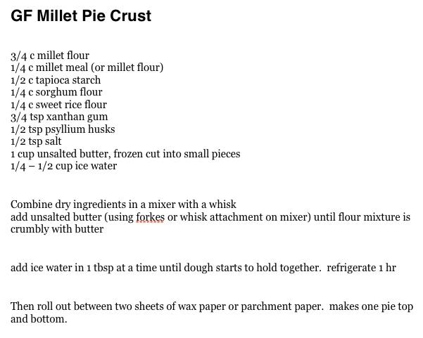 GF Millet Pie Crust